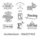 Set Of Fencing Sports Vector...