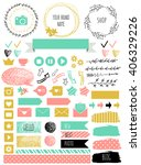 blog design set with ribbons ... | Shutterstock .eps vector #406329226