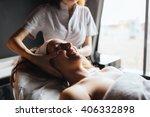 massage therapist massaging... | Shutterstock . vector #406332898