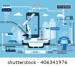 network smart city  | Shutterstock .eps vector #406341976