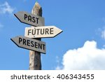 "Small photo of ""Past, future, present"" - wooden signpost, cloudy sky"