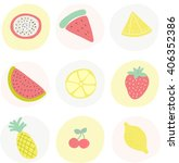 tropical fruits poster. vector... | Shutterstock .eps vector #406352386