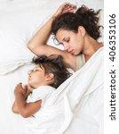 sleeping kid girl and her... | Shutterstock . vector #406353106