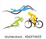 three triathlon icons of ... | Shutterstock .eps vector #406374655