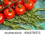 branch of ripe red cherry... | Shutterstock . vector #406378372