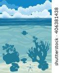 underwater landscape with...   Shutterstock .eps vector #406381438