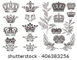 high detailed crowns set or... | Shutterstock .eps vector #406383256