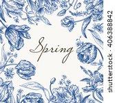 vector frame with spring... | Shutterstock .eps vector #406388842