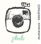hipster photo camera  hand... | Shutterstock .eps vector #406392622