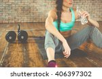 woman drinking water after... | Shutterstock . vector #406397302