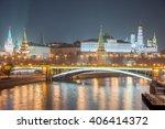 moscow kremlin at night.... | Shutterstock . vector #406414372