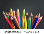 pencil crayons on black... | Shutterstock . vector #406416115