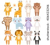 big set of cute cartoon animals.... | Shutterstock .eps vector #406423246