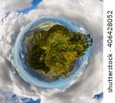 Small photo of Planet panorama of Great Barrier Island from Mt Hobson, New Zealand