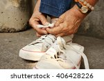 white shoes with  jeans sitting ... | Shutterstock . vector #406428226