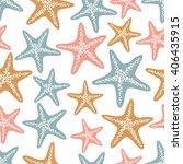 seamless vector starfish... | Shutterstock .eps vector #406435915