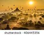 scenic sunrise with many hot...   Shutterstock . vector #406445356