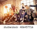 mixed race group of teenagers... | Shutterstock . vector #406457716