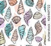seashells seamless pattern.... | Shutterstock .eps vector #406469722
