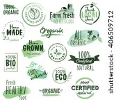 organic food stickers and...   Shutterstock .eps vector #406509712