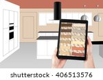 kitchen design using a tablet ...   Shutterstock . vector #406513576