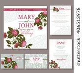 set of wedding cards with red... | Shutterstock .eps vector #406513978