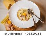 pasta carbonara with... | Shutterstock . vector #406519165