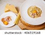 pasta carbonara with... | Shutterstock . vector #406519168