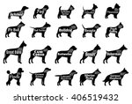 Stock vector vector dog silhouettes collection for dog club pet clinic and pet shop 406519432
