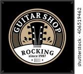 vector guitar shop logo. music... | Shutterstock .eps vector #406519462