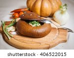 hot tomato soup. on board with... | Shutterstock . vector #406522015