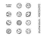 planet icon set  outlines  in...