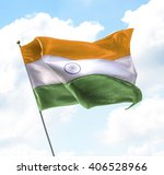 flag of india raised up in the... | Shutterstock . vector #406528966