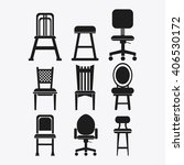 set of black and white chairs ... | Shutterstock .eps vector #406530172