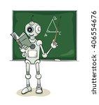 smiling natured robot teacher ... | Shutterstock .eps vector #406554676