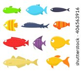 set of fish vector illustration ... | Shutterstock .eps vector #406563916