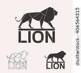 Stock vector lion logo set lion geometric lines silhouette isolated on white background vintage vector design 406564315