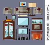 living room interior with... | Shutterstock . vector #406564942