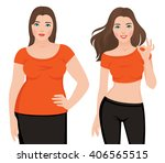 before and after weight loss... | Shutterstock .eps vector #406565515