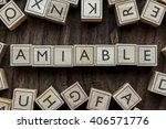Small photo of the word of AMIABLE on building blocks concept
