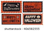 set of four happy halloween...   Shutterstock .eps vector #406582555