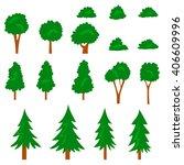 vector cartoon tree  pine tree  ... | Shutterstock .eps vector #406609996
