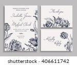 vintage wedding set with spring ... | Shutterstock .eps vector #406611742