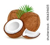 whole and half coconut with... | Shutterstock .eps vector #406634605