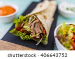 tortilla with pulled pork ... | Shutterstock . vector #406643752
