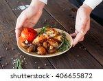 waiter serving a shish kebab... | Shutterstock . vector #406655872