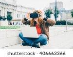 young beautiful redhead... | Shutterstock . vector #406663366