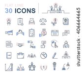 set vector line icons in flat... | Shutterstock .eps vector #406664665