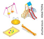 isometric kids playground or... | Shutterstock .eps vector #406675096