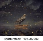 Black Raven In A Boat At The...